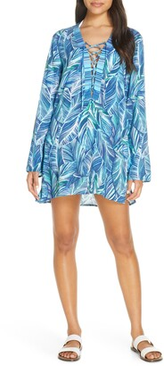 La Blanca Sketched Leaves Long Sleeve Tunic Cover-Up