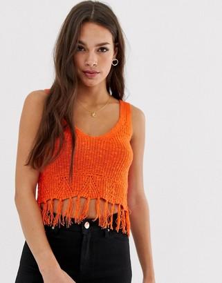 Asos DESIGN slub knit singlet with fringing