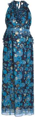 Anna Sui Metallic Printed Silk-blend Fil Coupe Halterneck Gown