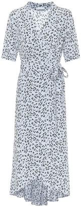 Ganni Floral crApe wrap midi dress
