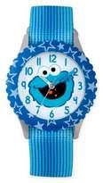Sesame Street Cookie Monster Children's Smile Time Teacher Watch in Blue Plastic w/Nylon Strap