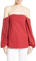 Theory Women's Laureema Poplin Off The Shoulder Top