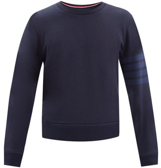 Thom Browne Four-bar Intarsia-stripe Cotton-jersey Sweatshirt - Navy