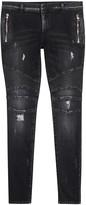 Balmain Black Distressed Skinny Biker Jeans