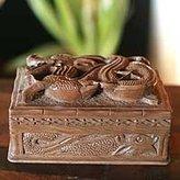 Novica Hand Carved Power Walnut Wood Jewelry Box