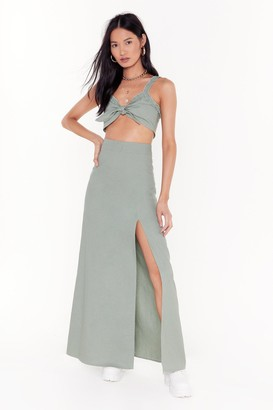Nasty Gal Womens Good to Bow Linen Crop Top and Maxi Skirt Set - green - 8
