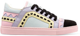 Sophia Webster Riko Laser-cut Leather And Suede Sneakers - Pink
