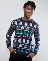 Pull&bear Christmas Jumper In Navy With Snowman Print