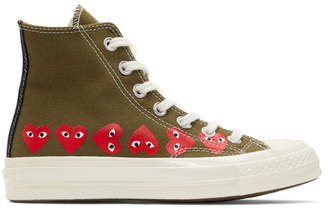 Comme des Garcons Khaki Converse Edition Multiple Heart Chuck 70 High Sneakers