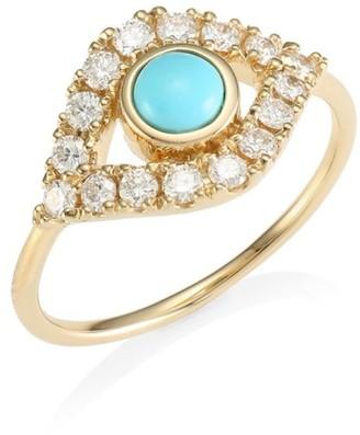 Sydney Evan 14K Yellow Gold Diamond & Turquoise Evil Eye Ring