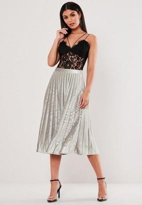 Missguided Tall Silver Velvet Pleated Midi Skirt