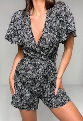 Missguided Black Paisley Print Wrap Front Romper
