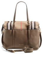 Burberry Infant Classic Check & Leather Diaper Bag - Grey