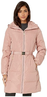 Kate Spade Belted Hooded Down (Soft Peony) Women's Clothing