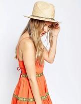 Asos Straw Fedora Hat With Western Eagle Charm Trim