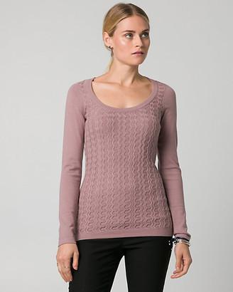 Le Château Textured Viscose Blend Scoop Neck Sweater