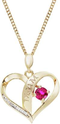 Moon & Back Silver Ruby CZ Heart Mum Pendant 18in Necklace