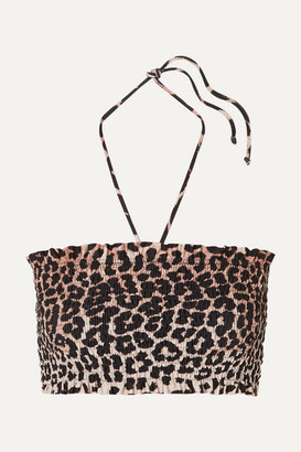 Ganni Shirred Leopard-print Bandeau Bikini Top - Leopard print