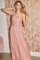 Thumbnail for your product : Little Mistress Bridesmaid Lani Apricot Sequin Embroidered One-Shoulder Maxi Dress