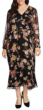 Vince Camuto Plus Vinve Camuto Plus Beautiful Blooms Midi Wrap Dress