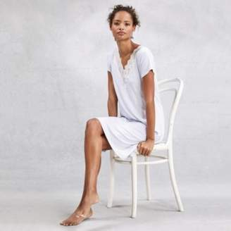 The White Company Deep V Lace Nightie, Pale Blue Marl, Extra Small