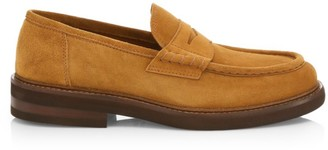 Brunello Cucinelli Chunky Suede Penny Loafers