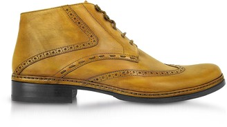 Pakerson Yellow Handmade Italian Leather Wingtip Ankle Boots
