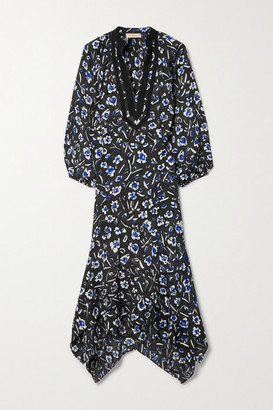 Tory Burch Asymmetric Grosgrain-trimmed Floral-print Crepe Midi Dress - Charcoal