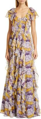 Flor Et. Al Valles Floral Silk Chiffon Gown
