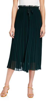 Joan Vass Pleated Wide-Leg Cropped Culotte Pants
