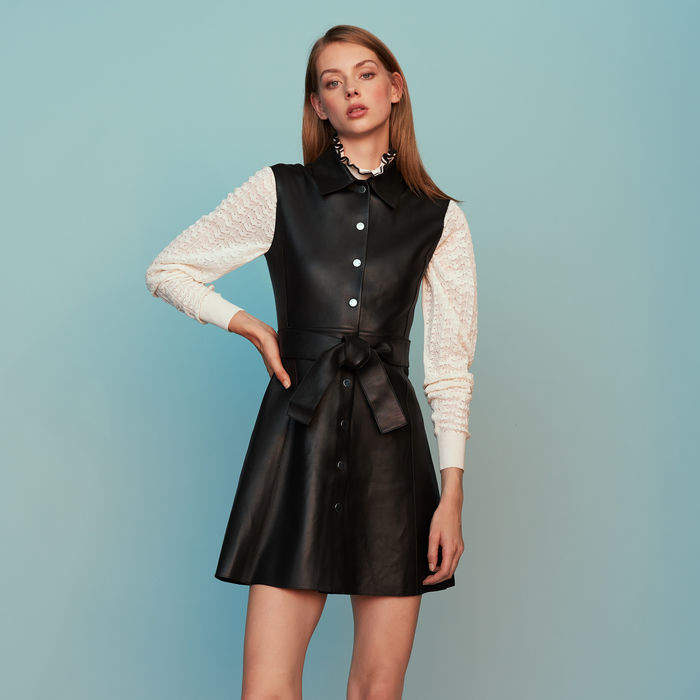 Maje Sleeveless leather shirt dress
