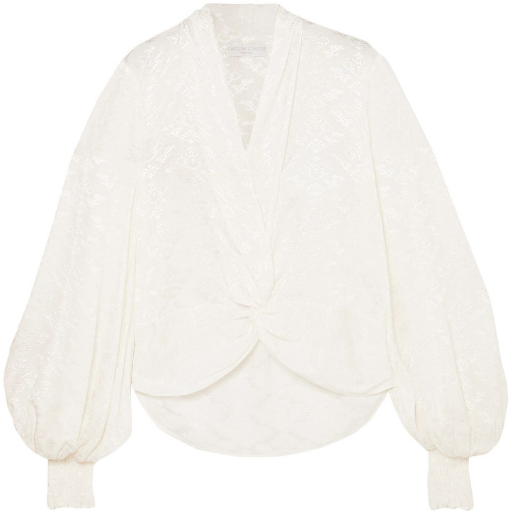 Caroline Constas Bettie Twist-front Shirred Satin-jacquard Blouse
