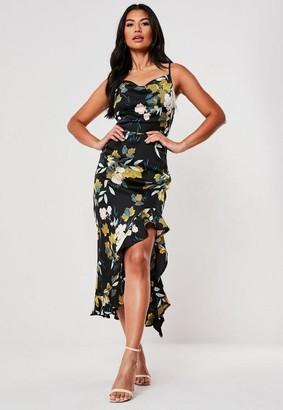 Missguided Black Floral Ruffle Side Cami Midi Dress