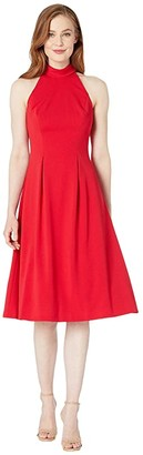 Calvin Klein Mock Halter Neck Midi Dress (Red) Women's Dress