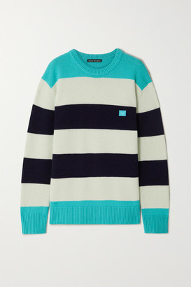 Acne Studios Nimah Face Striped Wool Sweater - Turquoise