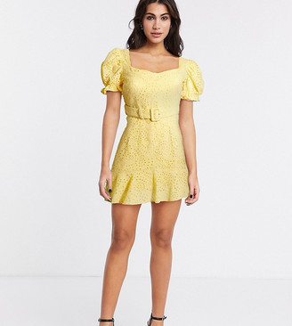 Dark Pink belted sweetheart broderie mini dress with frill hem in soft yellow