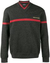Balenciaga striped V-neck sweater - men - Polyamide/Spandex/Elastane/Wool - XS