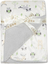 Cutie Pie Baby Gray Animal Sherpa-Backed Stroller Blanket