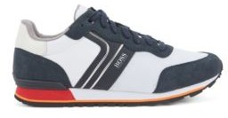 BOSS Running-style trainers with suede and mesh