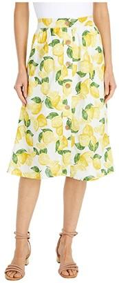 BCBGeneration Pull-On Button Front Skirt - TTE3286267 (Optic White) Women's Skirt