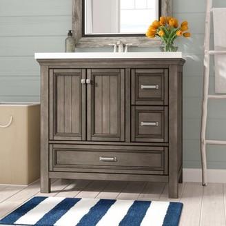 "Beachcrest Home Melgar 36"" Single Bathroom Vanity Base Only Finish: Distressed Gray"