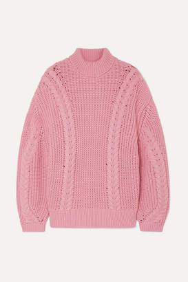 Emilia Wickstead + The Woolmark Company Mirren Oversized Merino Wool Turtleneck Sweater - Pink