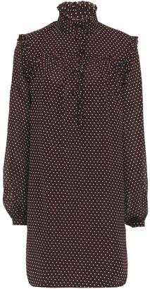 Frame Gathered Ruffle-trimmed Printed Crepe Mini Dress