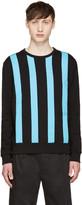 Giuliano Fujiwara Black and Turquoise Striped Pullover