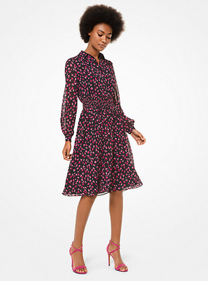 MICHAEL Michael Kors MK Floral Georgette Smocked Shirtdress - Berry - Michael Kors