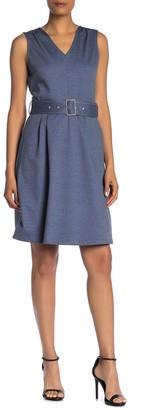 T Tahari Belted V-Neck Fit & Flare Dress