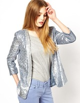 French Connection Sequin Blazer - Forever blue