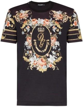 Dolce & Gabbana floral wreath logo print T-shirt