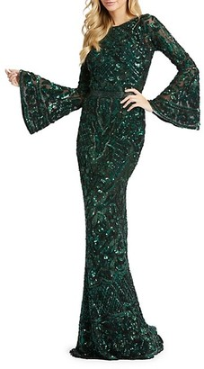 Mac Duggal Sequin-Embellished Bell-Sleeve Column Gown