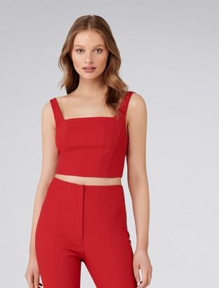 Forever New Carly Co-ord Square Neck Fitted Crop Top - Cherry Red - 6
